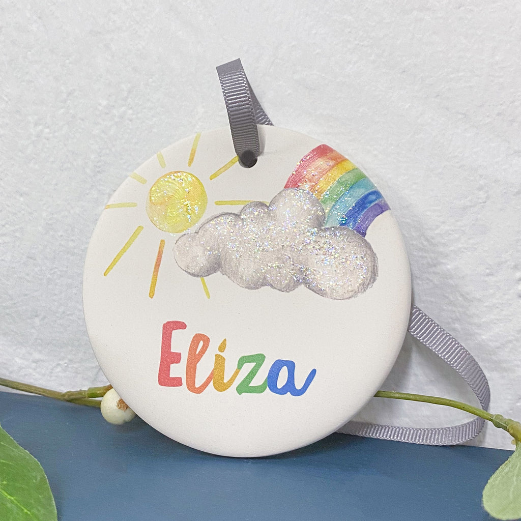 Periwinkle and Clay Ceramic Keepsakes Personalised Rainbow Ceramic Keepsake