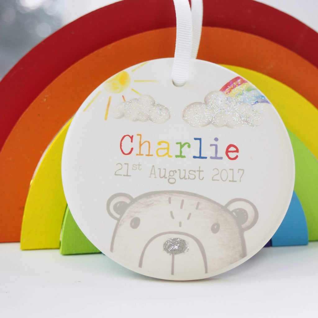 Periwinkle and Clay Ceramic Keepsakes Rainbow Bear Personalised Hanging Decoration