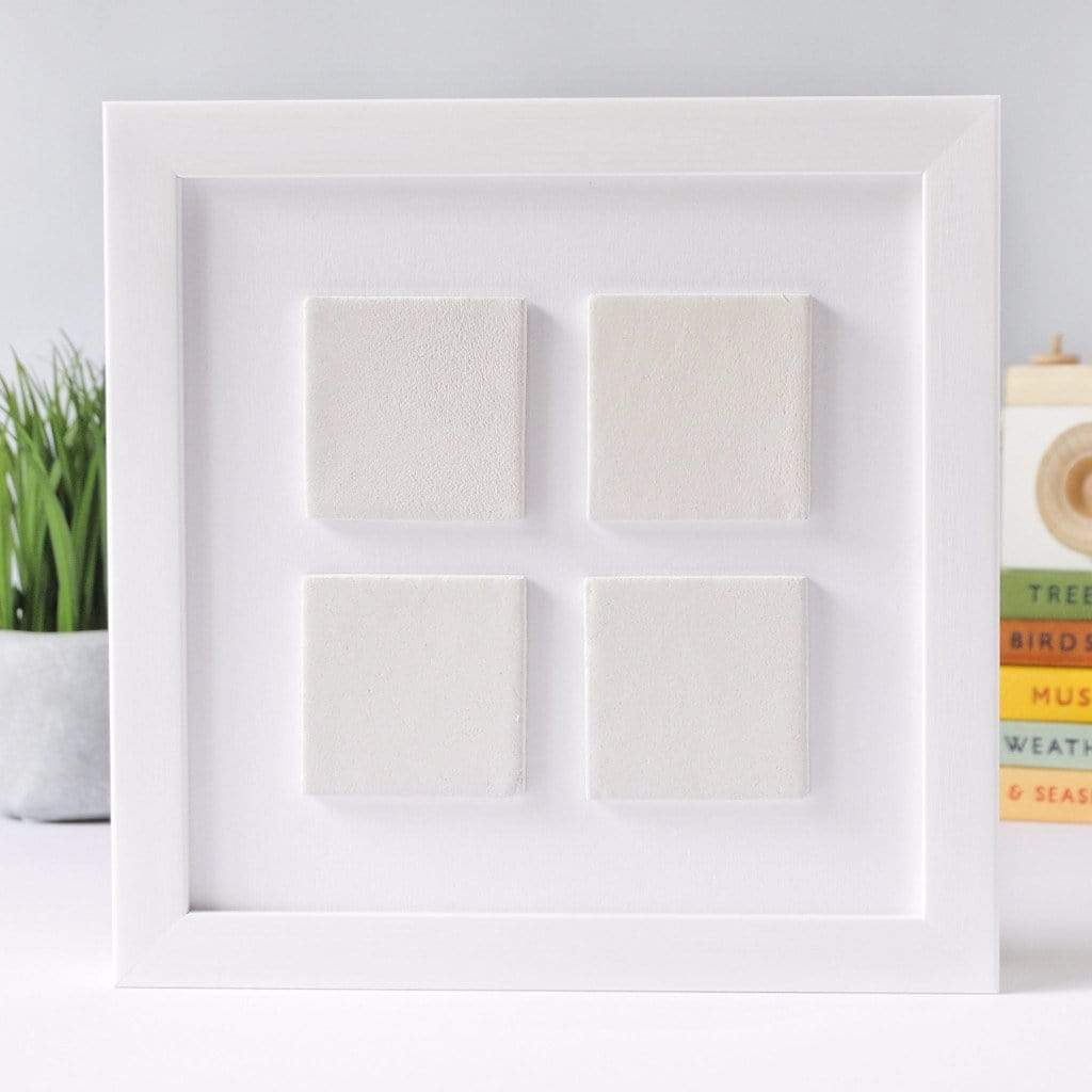 Periwinkle and Clay Design Your Own Four Large Tile Photo Frame / White Box