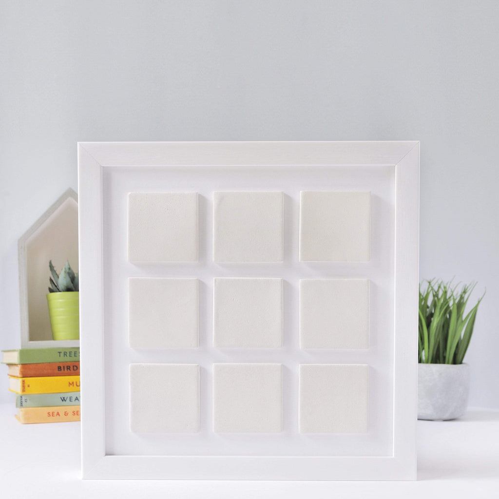 Periwinkle and Clay Design Your Own Nine Large Tile Photo Frame / White Box Frame