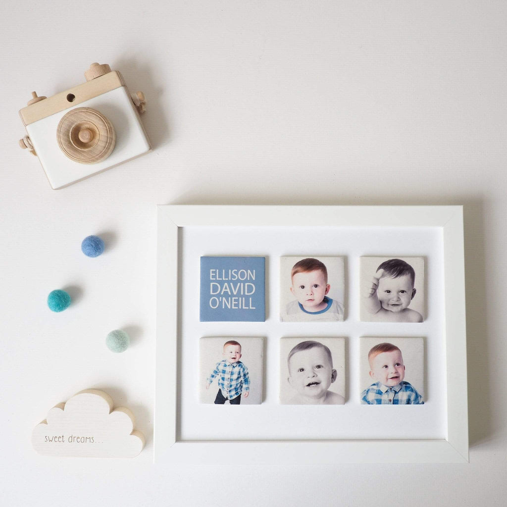 Periwinkle and Clay Design Your Own Six Large Tile Photo Frame / White Box