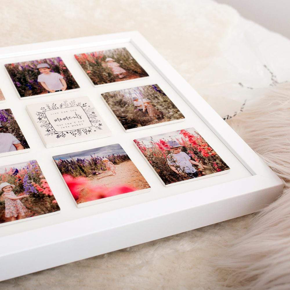 Periwinkle and Clay Design Your Own Supersized Nine Large Tile Photo Frame / White Box Frame