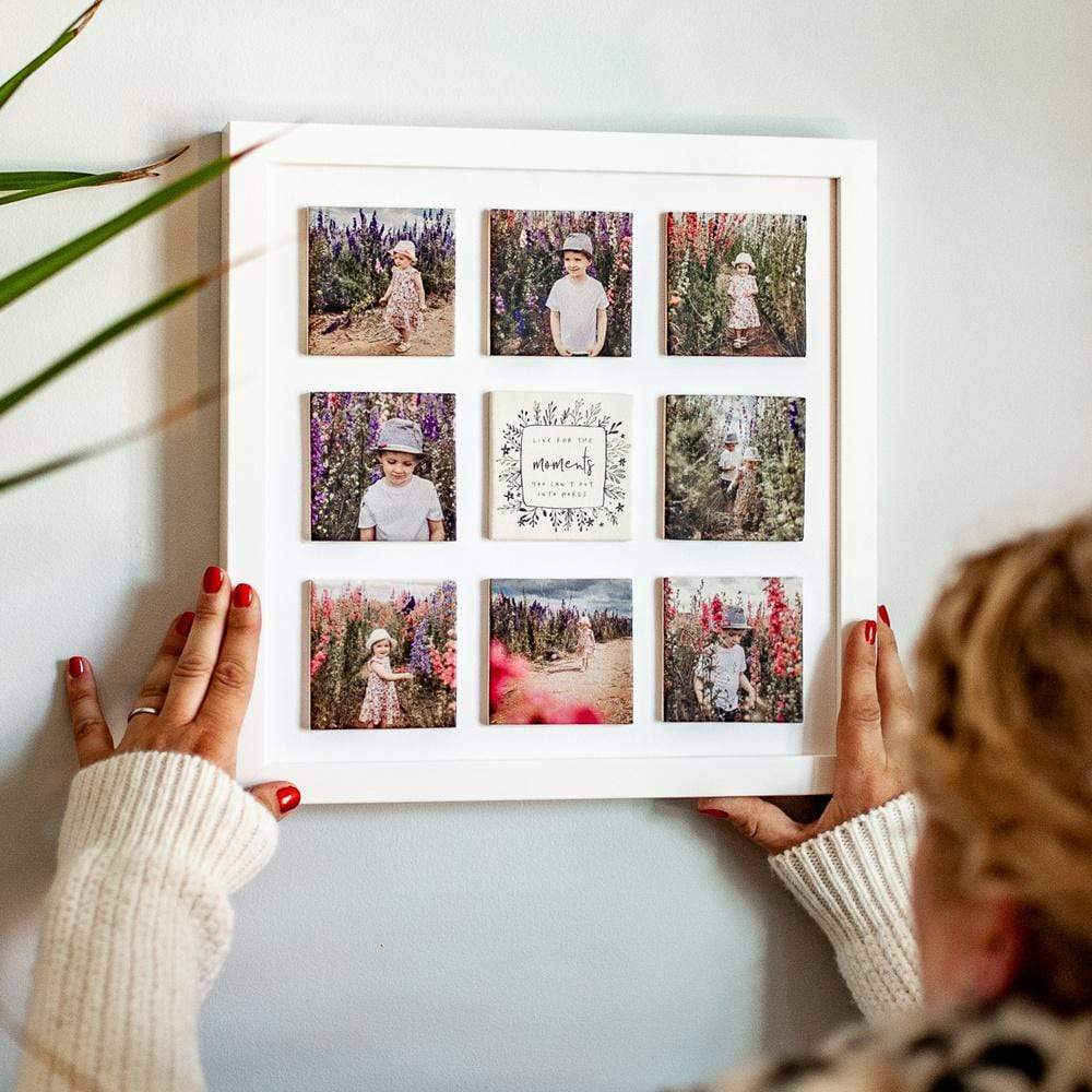 Supersized Nine Ceramic tile Photo Frame / White Box Frame