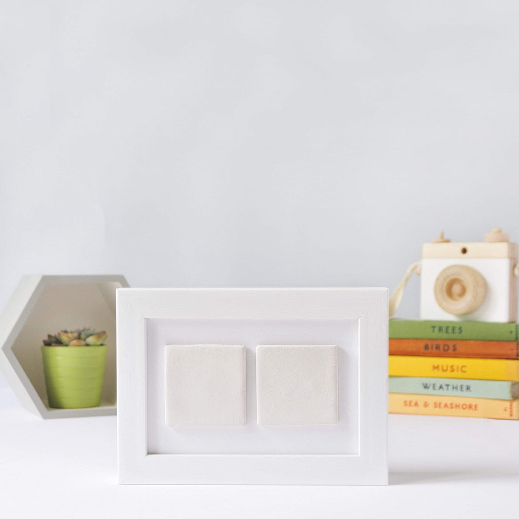Periwinkle and Clay Design Your Own Two Tile Photo Frame / Plain White Box