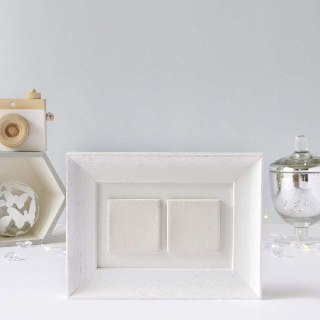 Periwinkle and Clay Design Your Own Two Tile Photo Frame / White Soft Curve