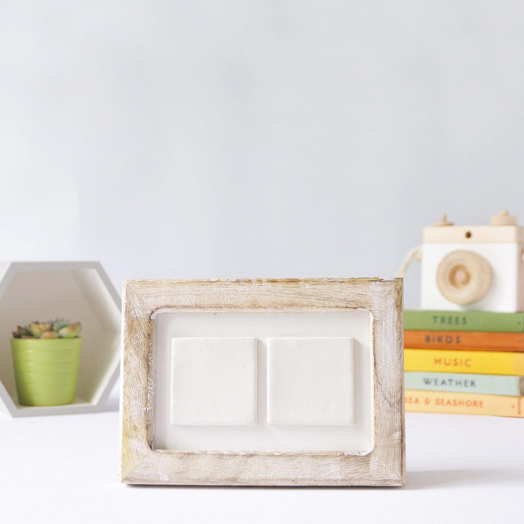 Periwinkle and Clay Design Your Own Two Tile Photo Frame / White-Washed Wood