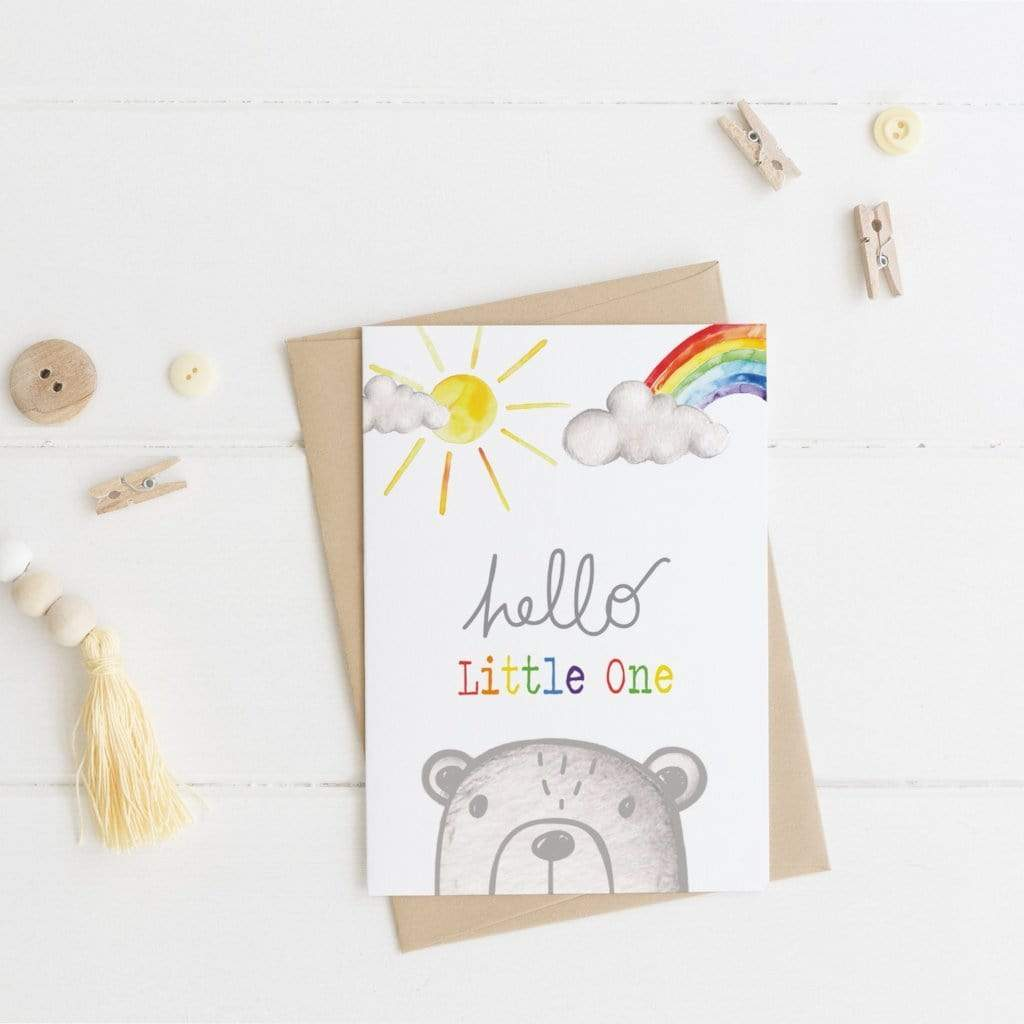 Periwinkle and Clay Greeting Cards Hello Little One Bear - New Baby Card