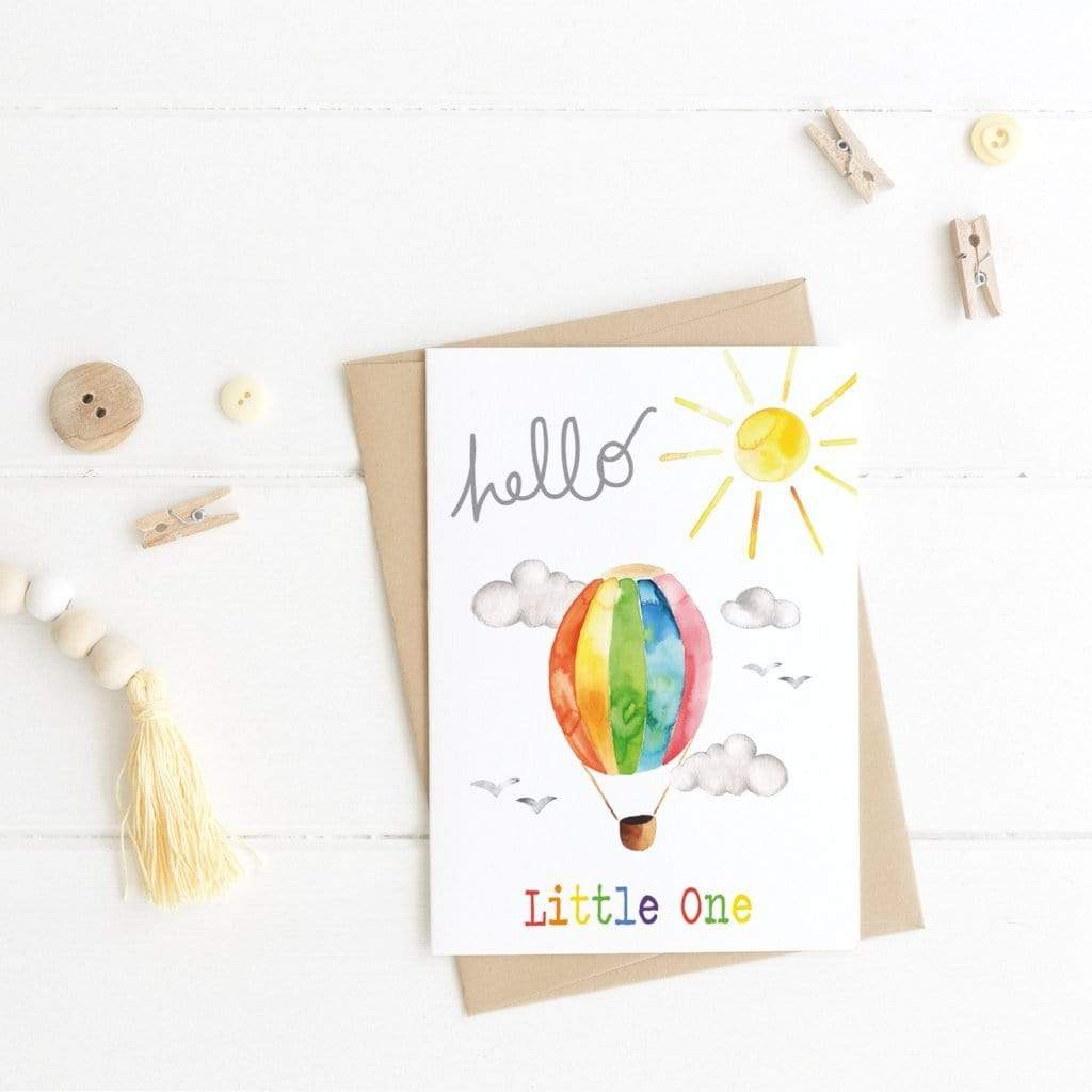 Periwinkle and Clay Greeting Cards Hello Little One - New Baby Card