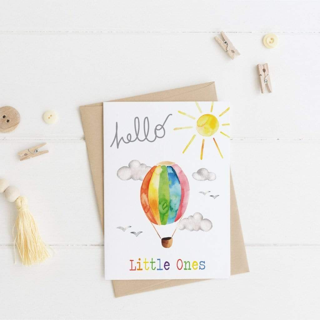 Periwinkle and Clay Greeting Cards Hello Little Ones - New Baby Twins Card