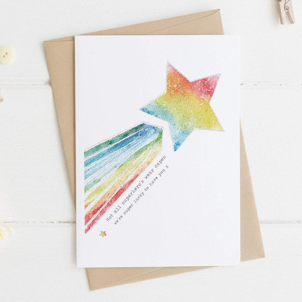 Periwinkle and Clay Greeting Cards Hero Shooting Star Rainbow Card