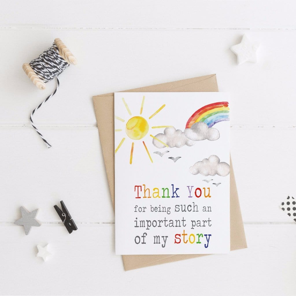Periwinkle and Clay Greeting Cards Thank you for being part of my story Card
