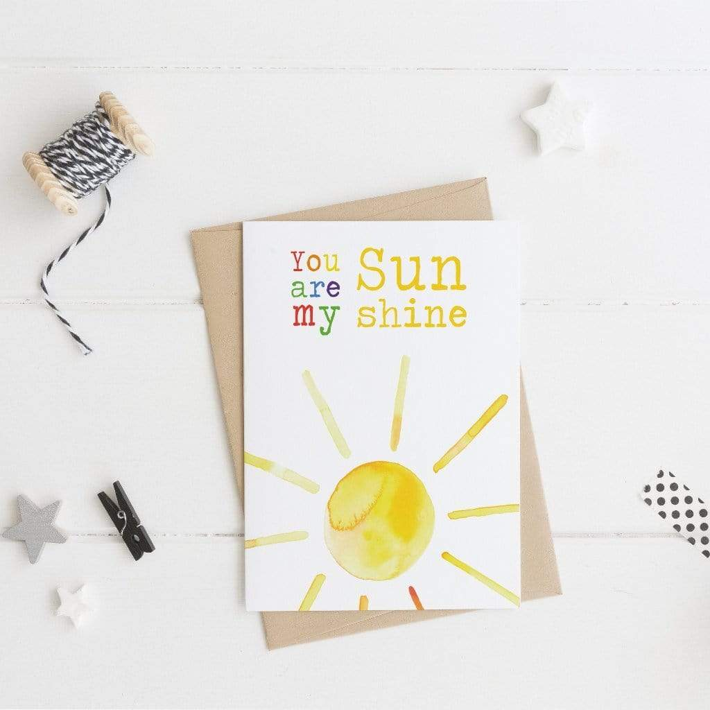 Periwinkle and Clay Greeting Cards You're my Sunshine Card