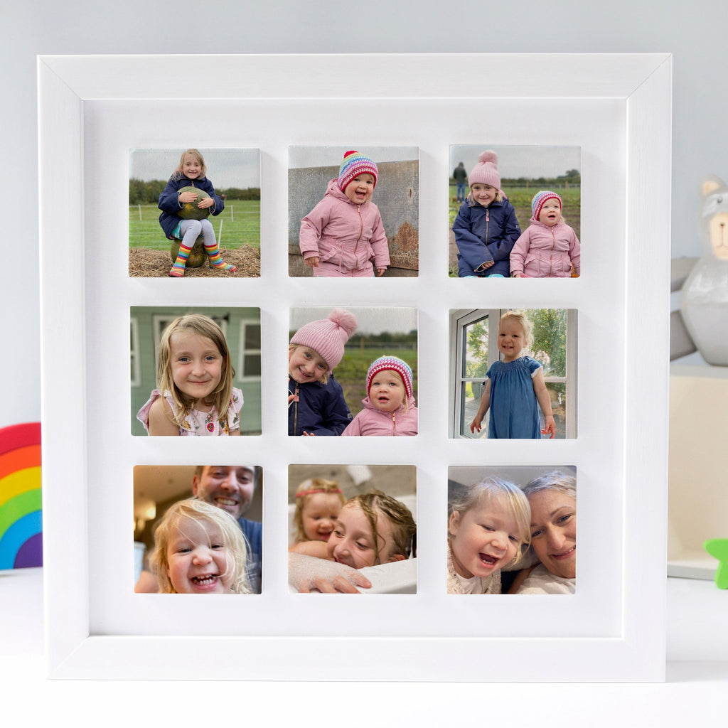 Periwinkle and Clay Just Photos Nine Large Tile Photo Frame / White Box Frame / Just Photos