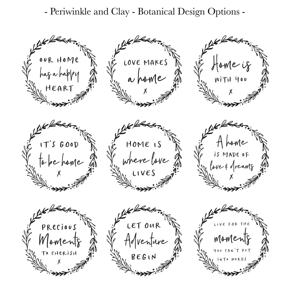Periwinkle and Clay Message Tiles Botanical Large Message Tile Frame