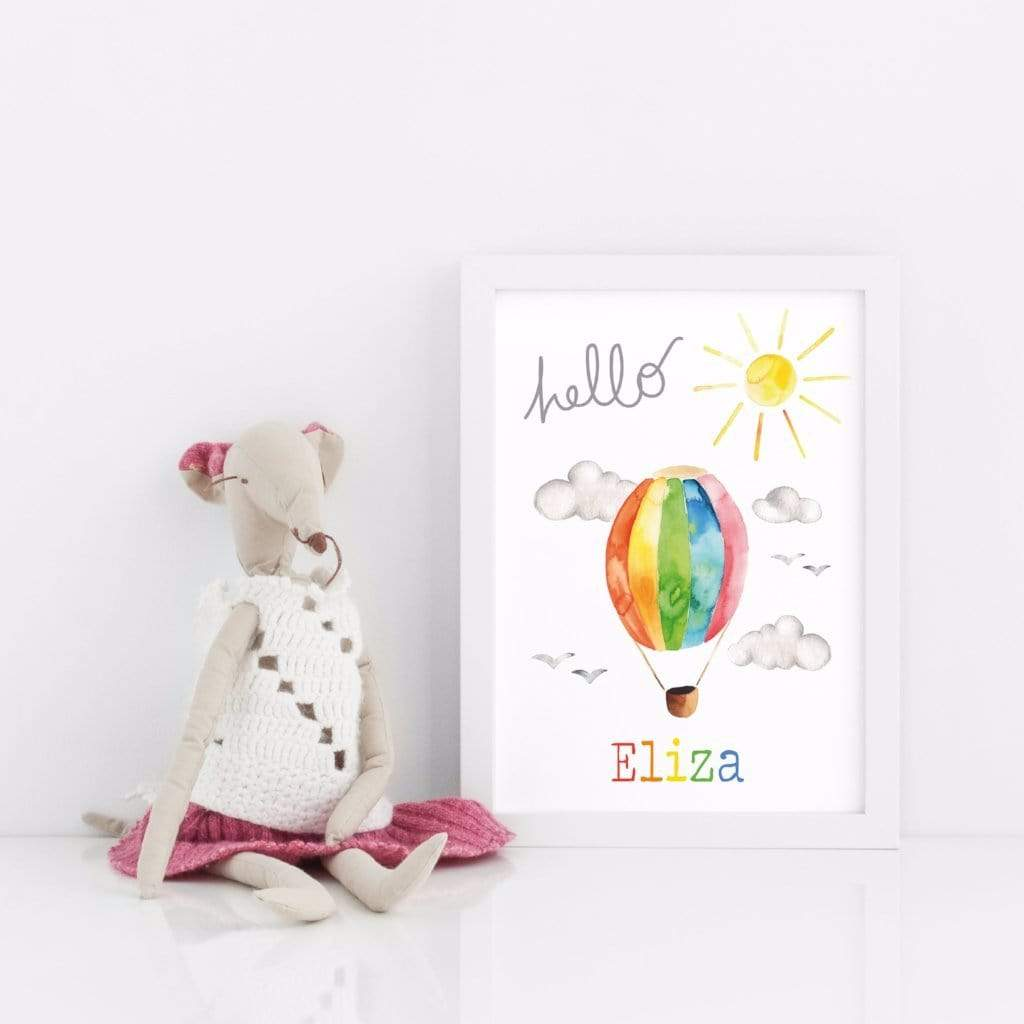 Periwinkle and Clay Personalised Prints Personalised Hello Hot Air Balloon Rainbow Print