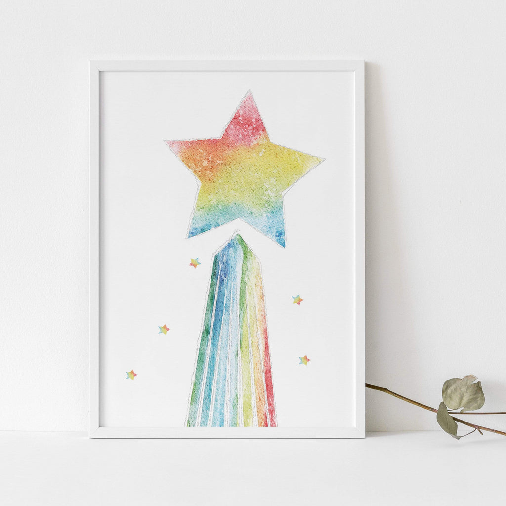 Periwinkle and Clay Personalised Prints Shooting Star Rainbow Print