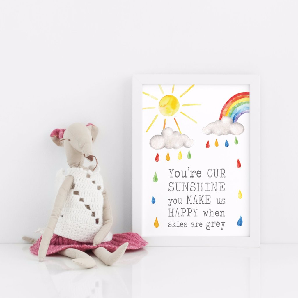 Periwinkle and Clay Personalised Prints Sunshine Happy Print