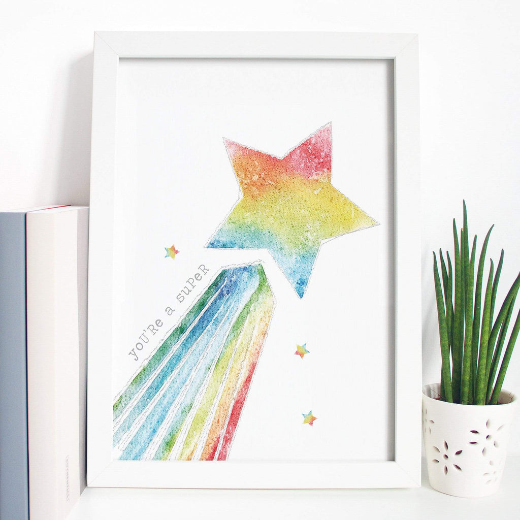 Periwinkle and Clay Personalised Prints Super Star Shooting Star Rainbow Print