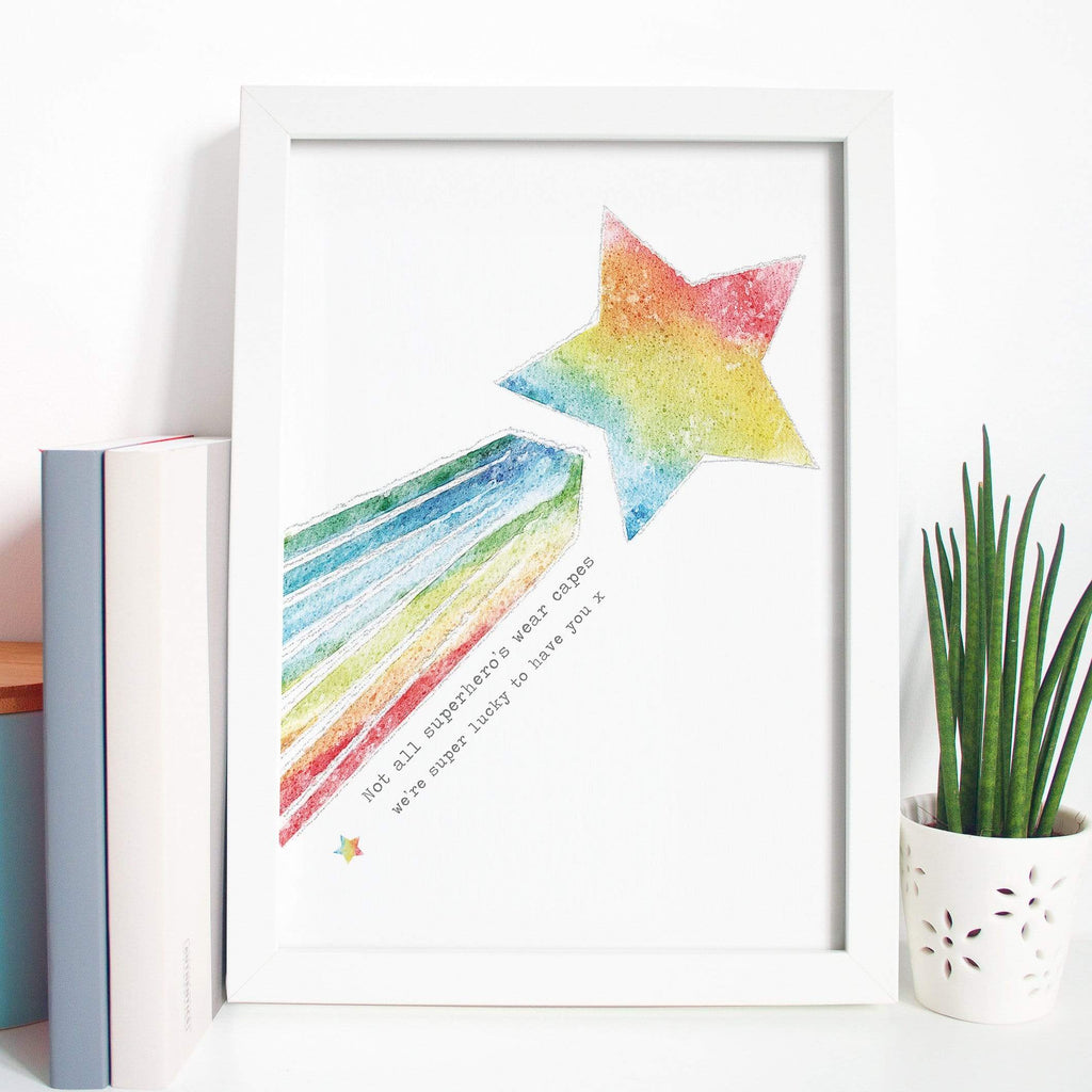 Periwinkle and Clay Personalised Prints Superhero Rainbow Shooting Star Print