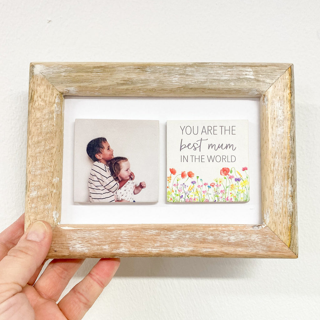 Periwinkle and Clay Photo + Message Tiles Best Mum in the World Poppy Fields Clay Tiled Photo Frame