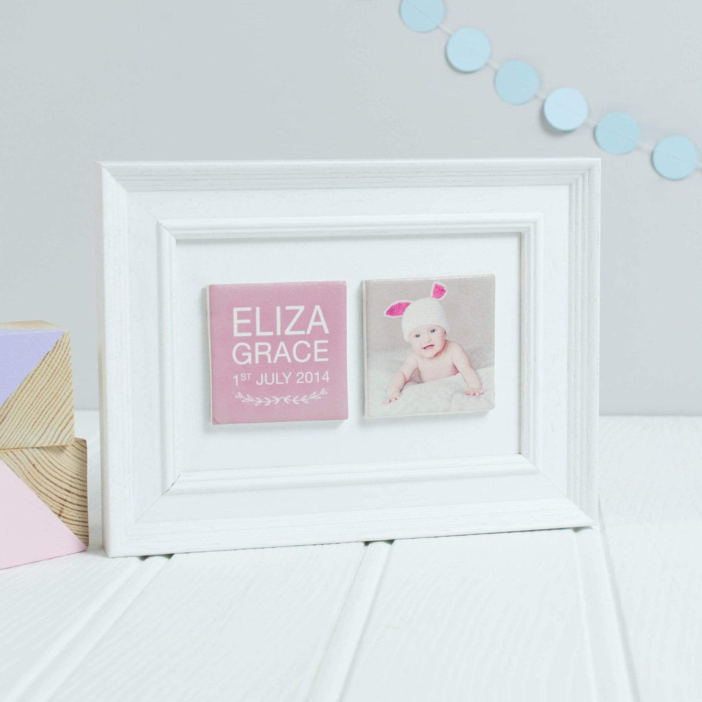 Periwinkle and Clay Photo + Message Tiles Birth Announcement Personalised Clay Tiled Photo Frame