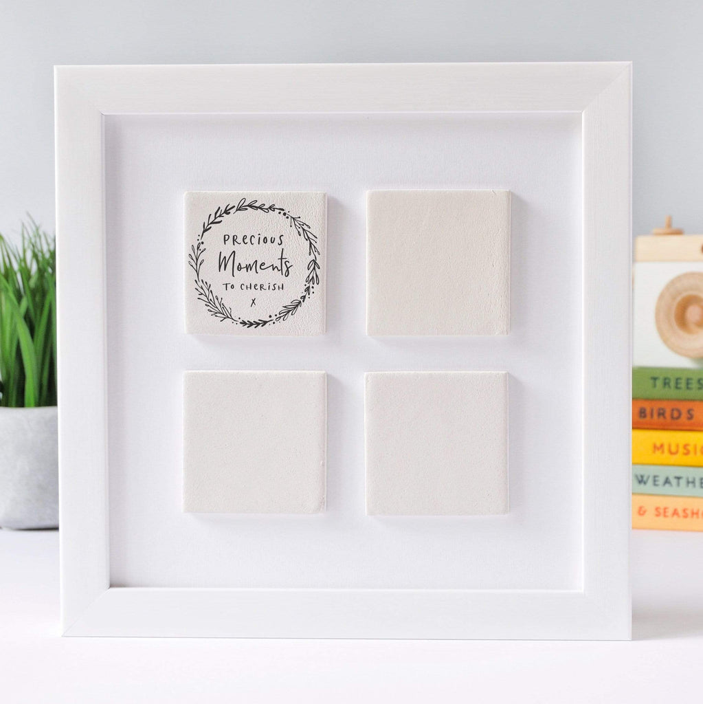 Periwinkle and Clay Photo + Message Tiles Botanical Four Large Tile Photo Frame / White Box