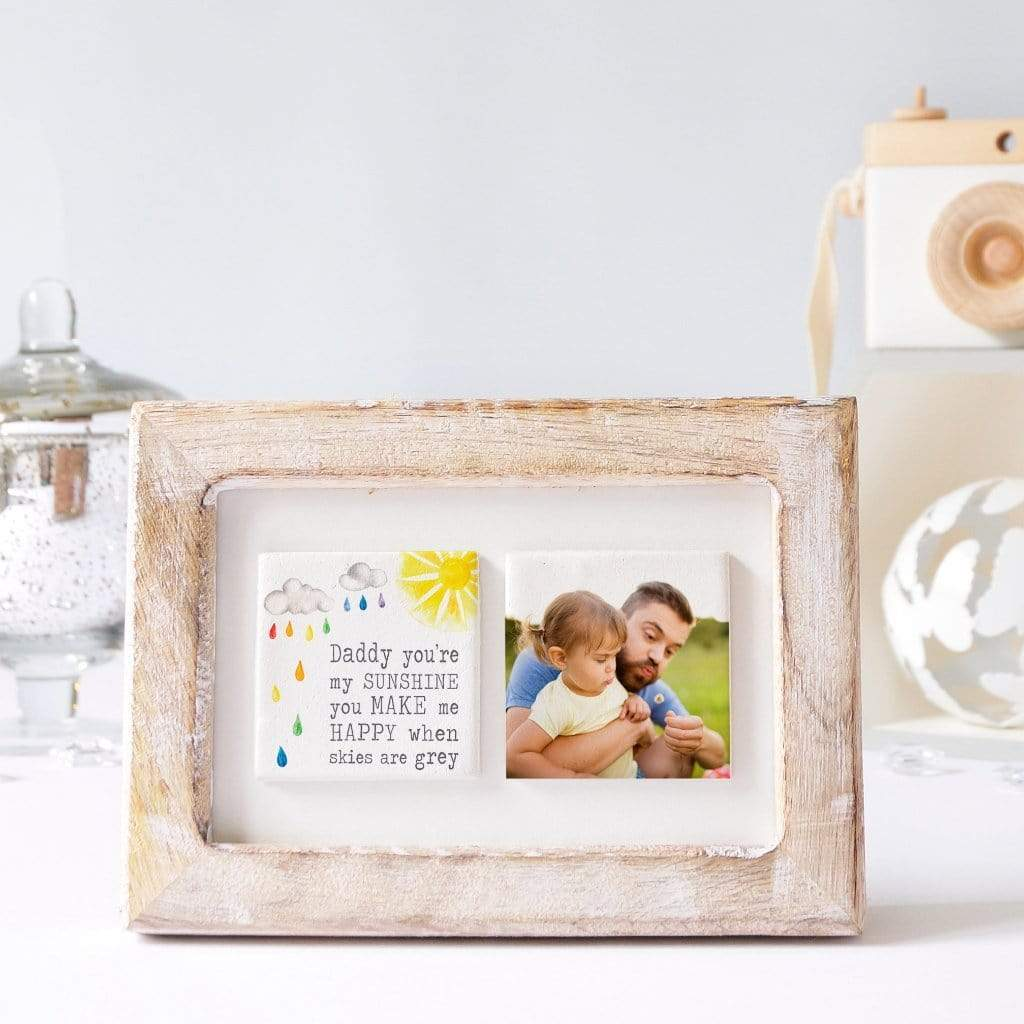 Periwinkle and Clay Photo + Message Tiles Daddy You're My Sunshine Clay Tiled Photo Frame