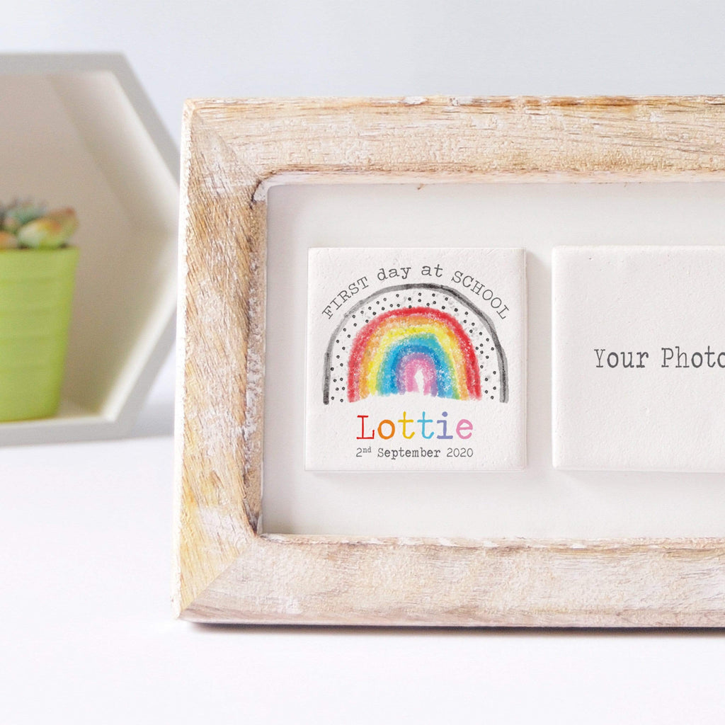 Periwinkle and Clay Photo + Message Tiles First Day of School Clay Tile Photo Frame - Dotty Rainbow