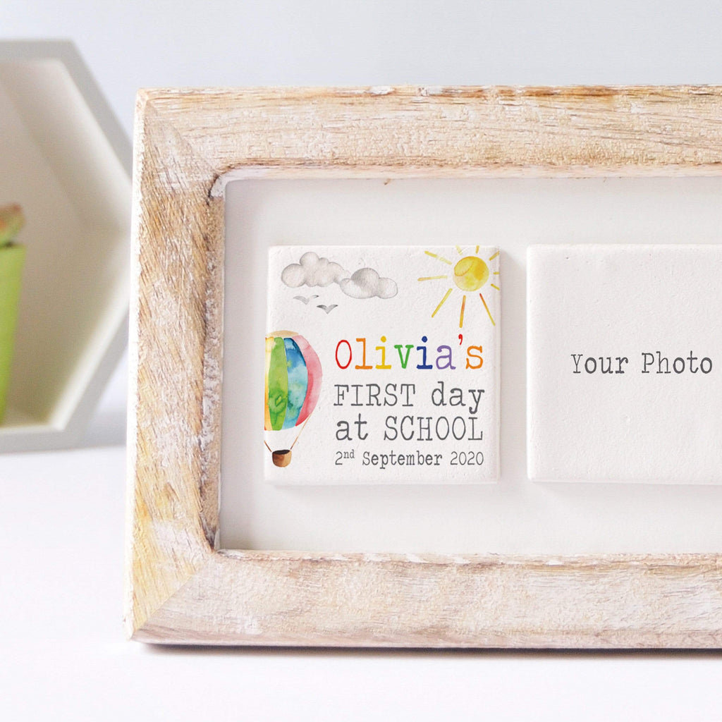 Periwinkle and Clay Photo + Message Tiles First Day of School Clay Tile Photo Frame - Hot Air Balloon