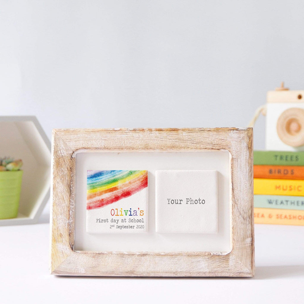 Periwinkle and Clay Photo + Message Tiles First Day of School Clay Tile Photo Frame - Rainbow