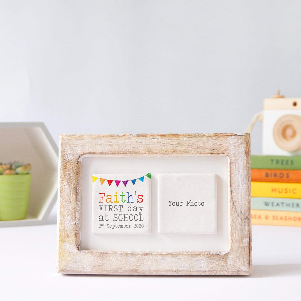 Periwinkle and Clay Photo + Message Tiles First Day of School Clay Tile Photo Frame - Rainbow Bunting