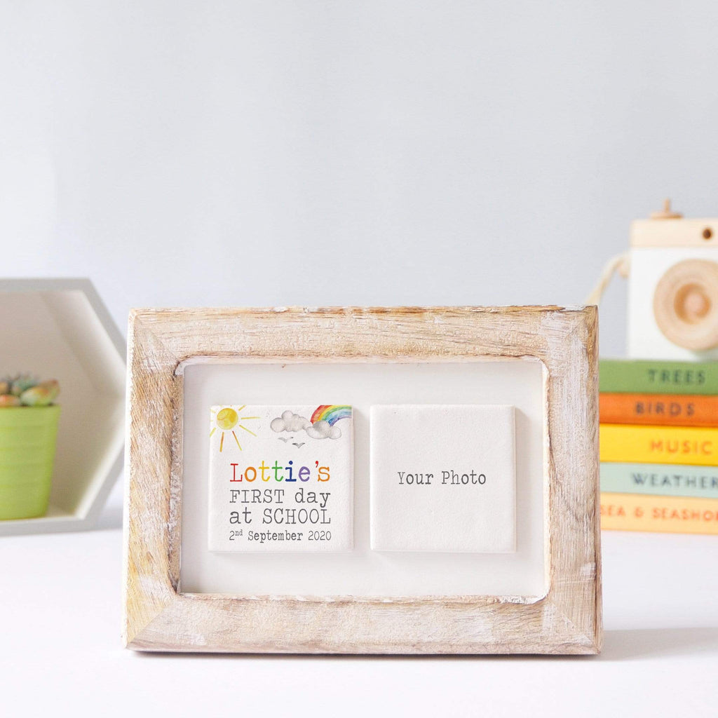 Periwinkle and Clay Photo + Message Tiles First Day of School Clay Tile Photo Frame - Rainbow & Sunshine