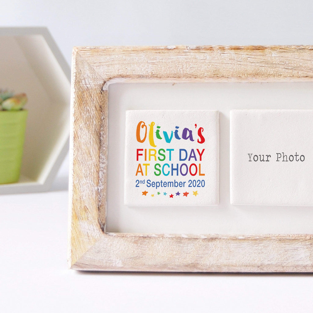 Periwinkle and Clay Photo + Message Tiles First Day of School Clay Tile Photo Frame - Rainbow Text