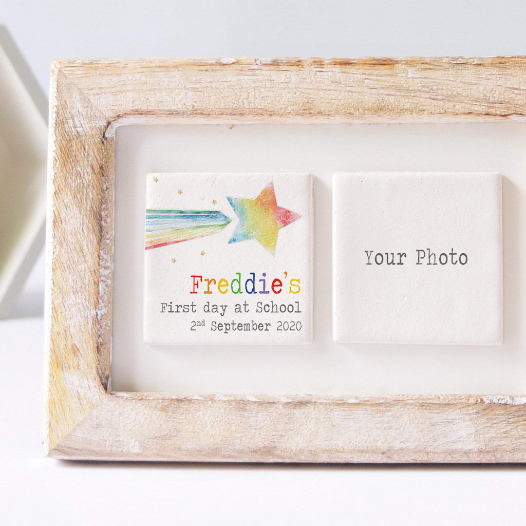 Periwinkle and Clay Photo + Message Tiles First Day of School Clay Tile Photo Frame - Shooting Star