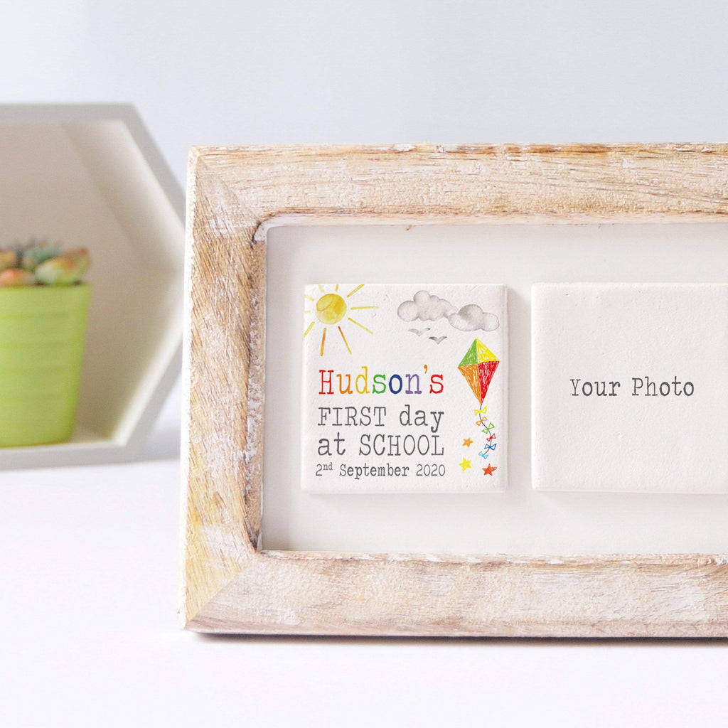 Periwinkle and Clay Photo + Message Tiles First Day of School Clay Tile Photo Frame - Sunshine Kite