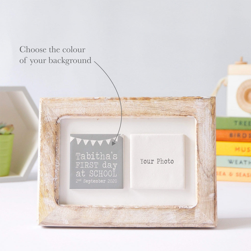 Periwinkle and Clay Photo + Message Tiles First Day of School Clay Tile Photo Frame - White Bunting