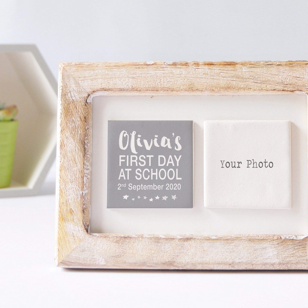 Periwinkle and Clay Photo + Message Tiles First Day of School Clay Tile Photo Frame - White Text