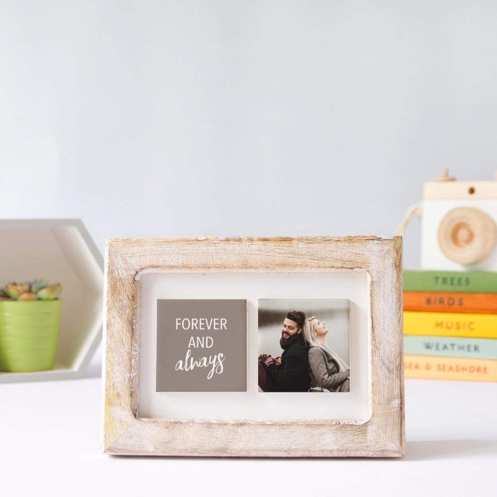 Periwinkle and Clay Photo + Message Tiles Forever & Always Clay Tiled Photo Frame