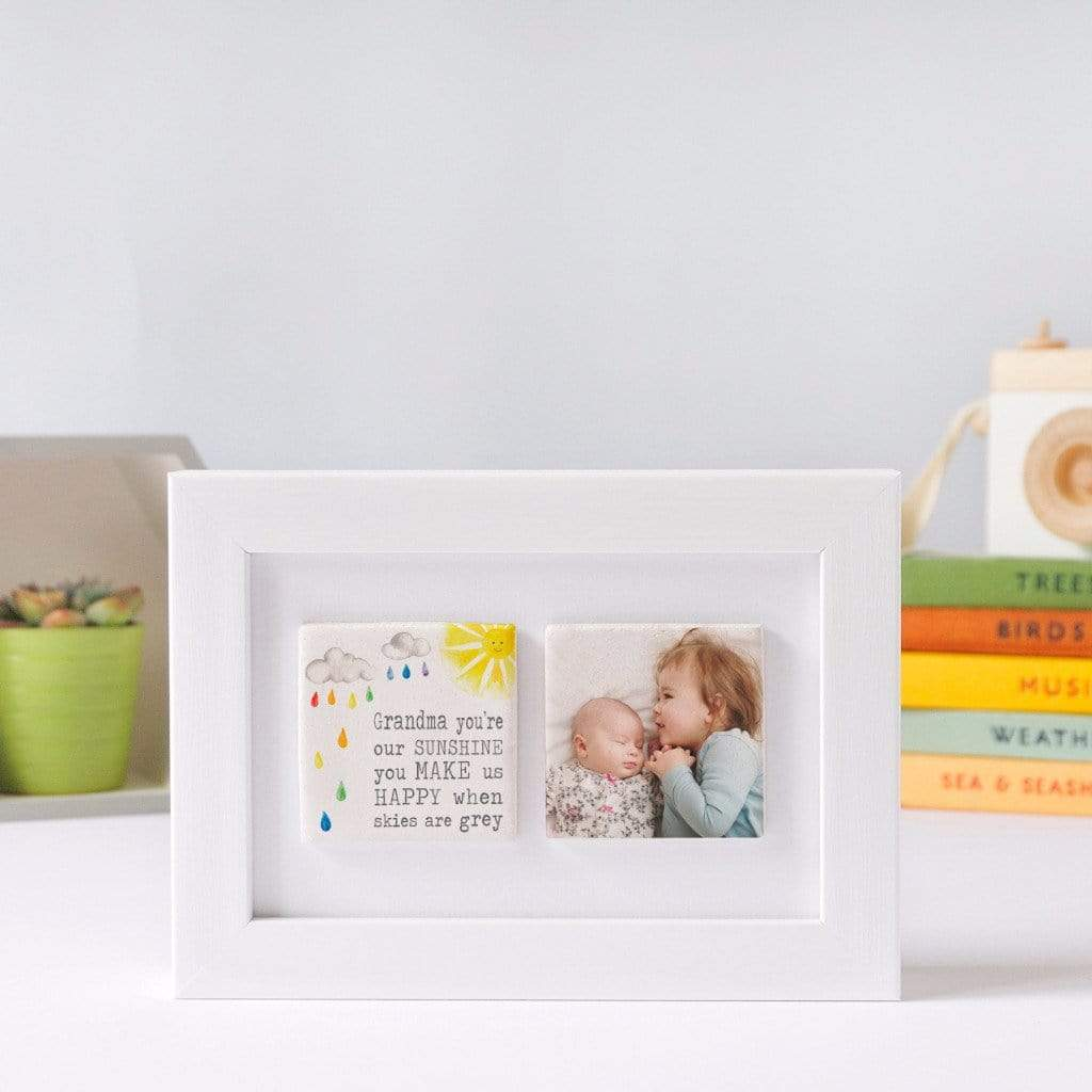 Periwinkle and Clay Photo + Message Tiles Grandma You're Our Sunshine Clay Tiled Photo Frame
