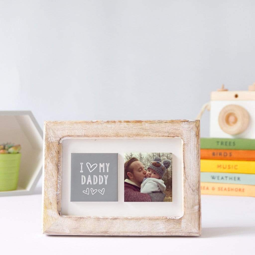 Periwinkle and Clay Photo + Message Tiles I Love My Daddy Clay Tiled Photo Frame