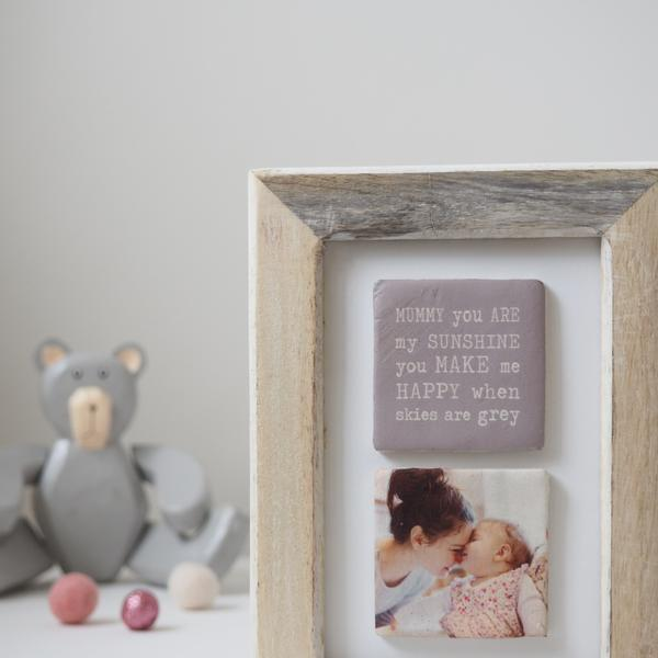 Periwinkle and Clay Photo + Message Tiles Mummy You're My Sunshine Clay Tiled Photo Frame