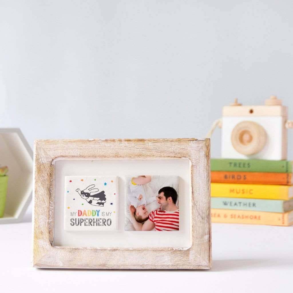 Periwinkle and Clay Photo + Message Tiles My Superhero Clay Tiled Photo Frame