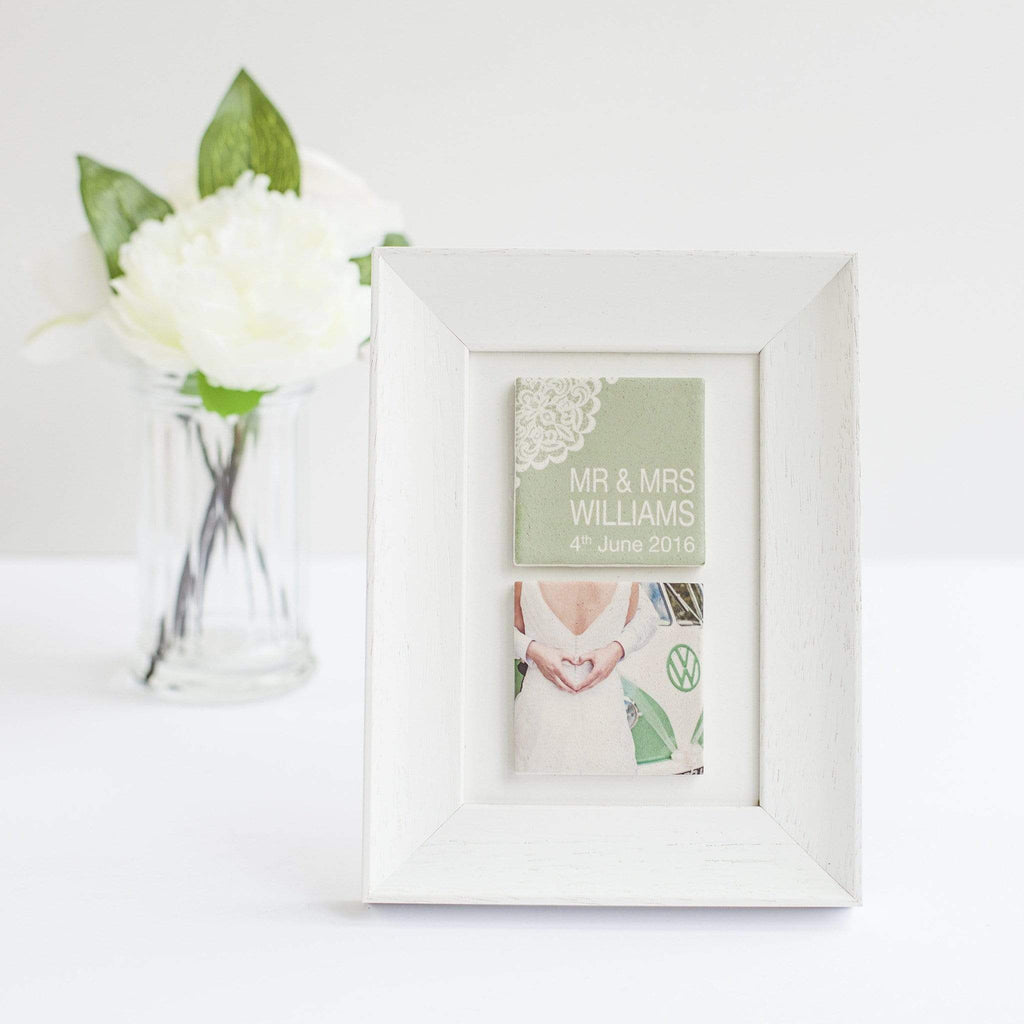 Periwinkle and Clay Photo + Message Tiles Personalised Vintage Lace Wedding Clay Tile Photo Frame
