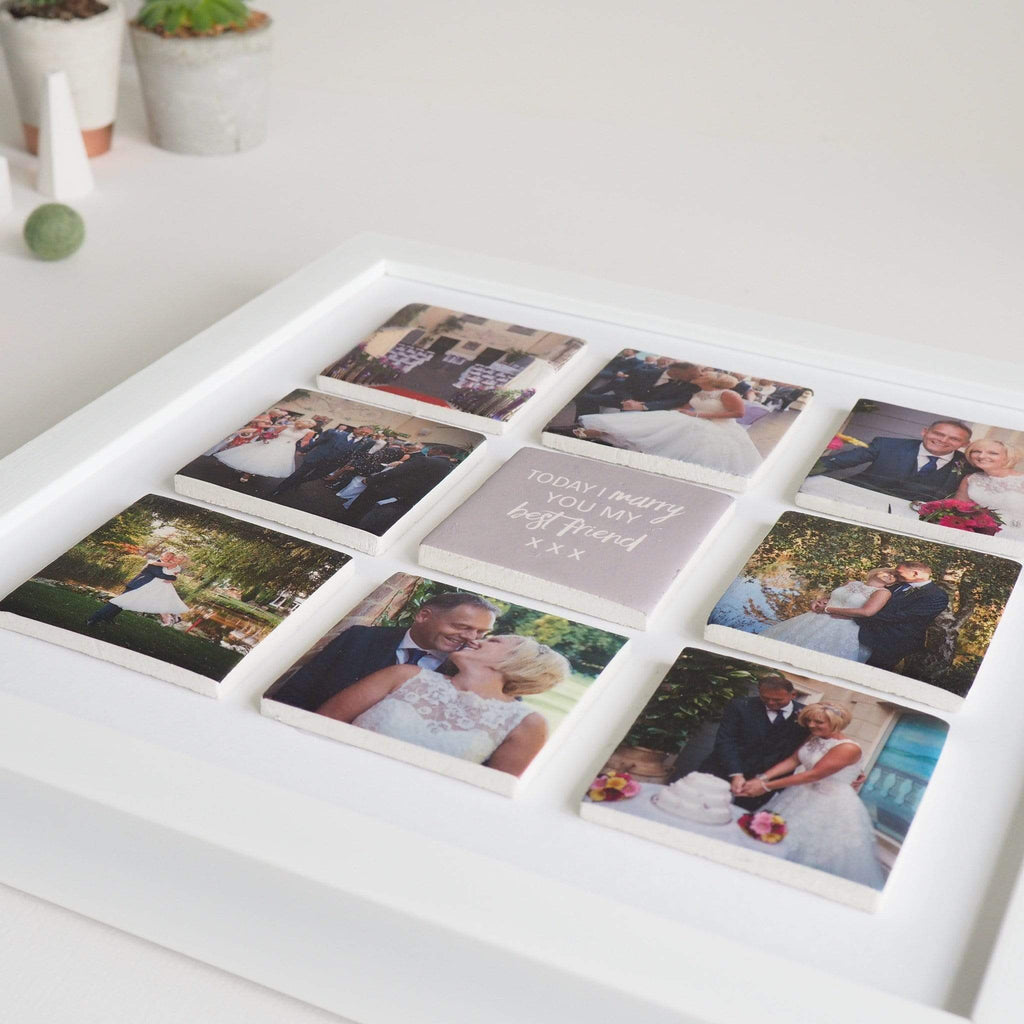 Periwinkle and Clay Photo + Message Tiles Personalised Wedding Large Nine Tile Photo Frame