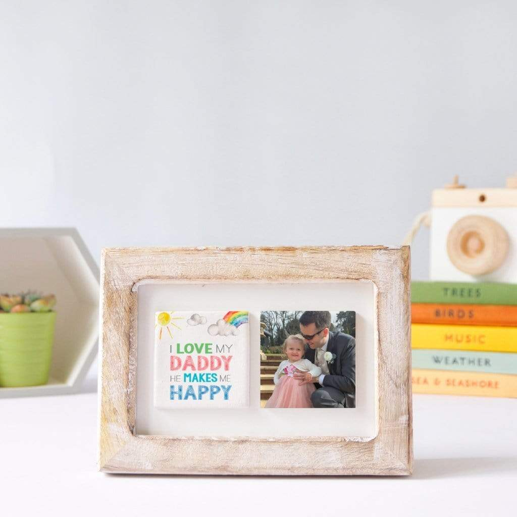 Periwinkle and Clay Photo + Message Tiles Rainbow You Make Me Happy Clay Tiled Photo Frame