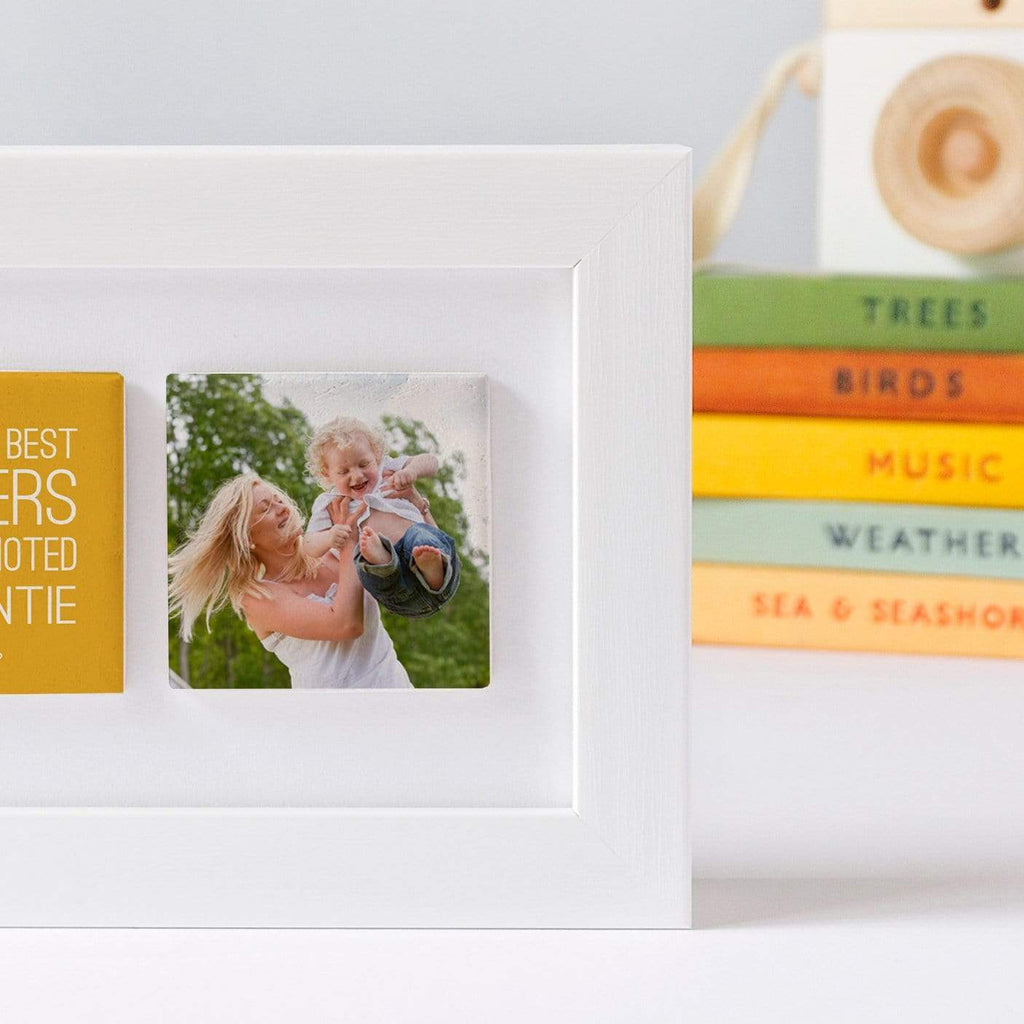 Periwinkle and Clay Photo + Message Tiles Sisters get promoted to Auntie Clay Tiled Photo Frame