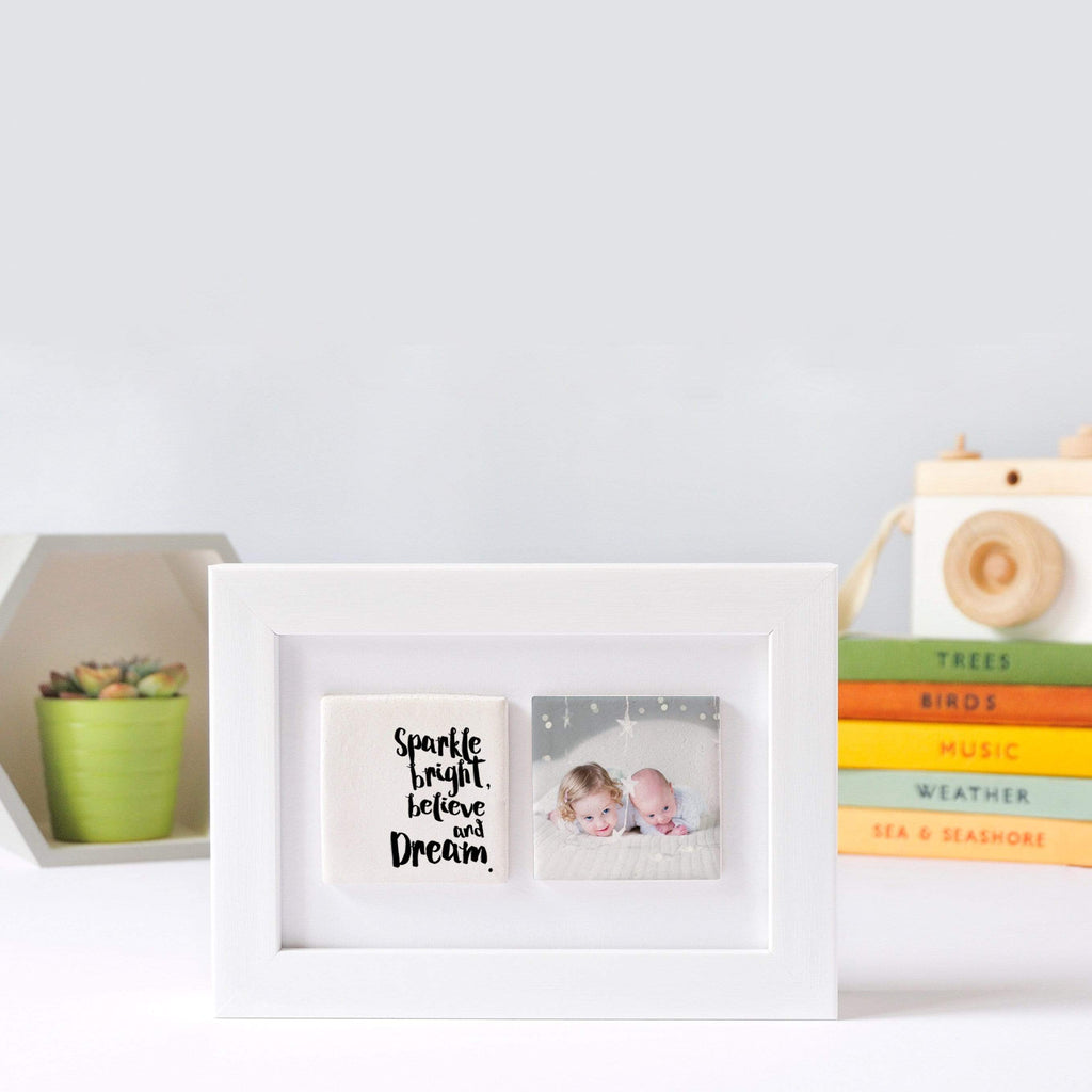 Periwinkle and Clay Photo + Message Tiles Sparkle Bright, Dream & Believe Two Tile White Box Photo Frame