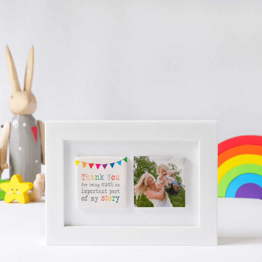 Periwinkle and Clay Photo + Message Tiles Thank You For Being Part of My Story Clay Tile Photo Frame