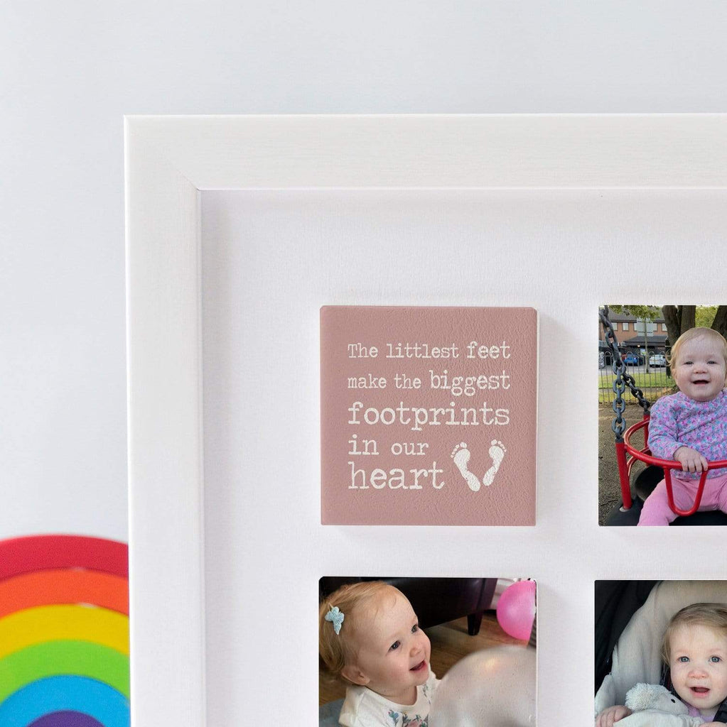 Periwinkle and Clay Photo + Message Tiles The Littlest Feet Personalised Clay Tiled Photo Frame