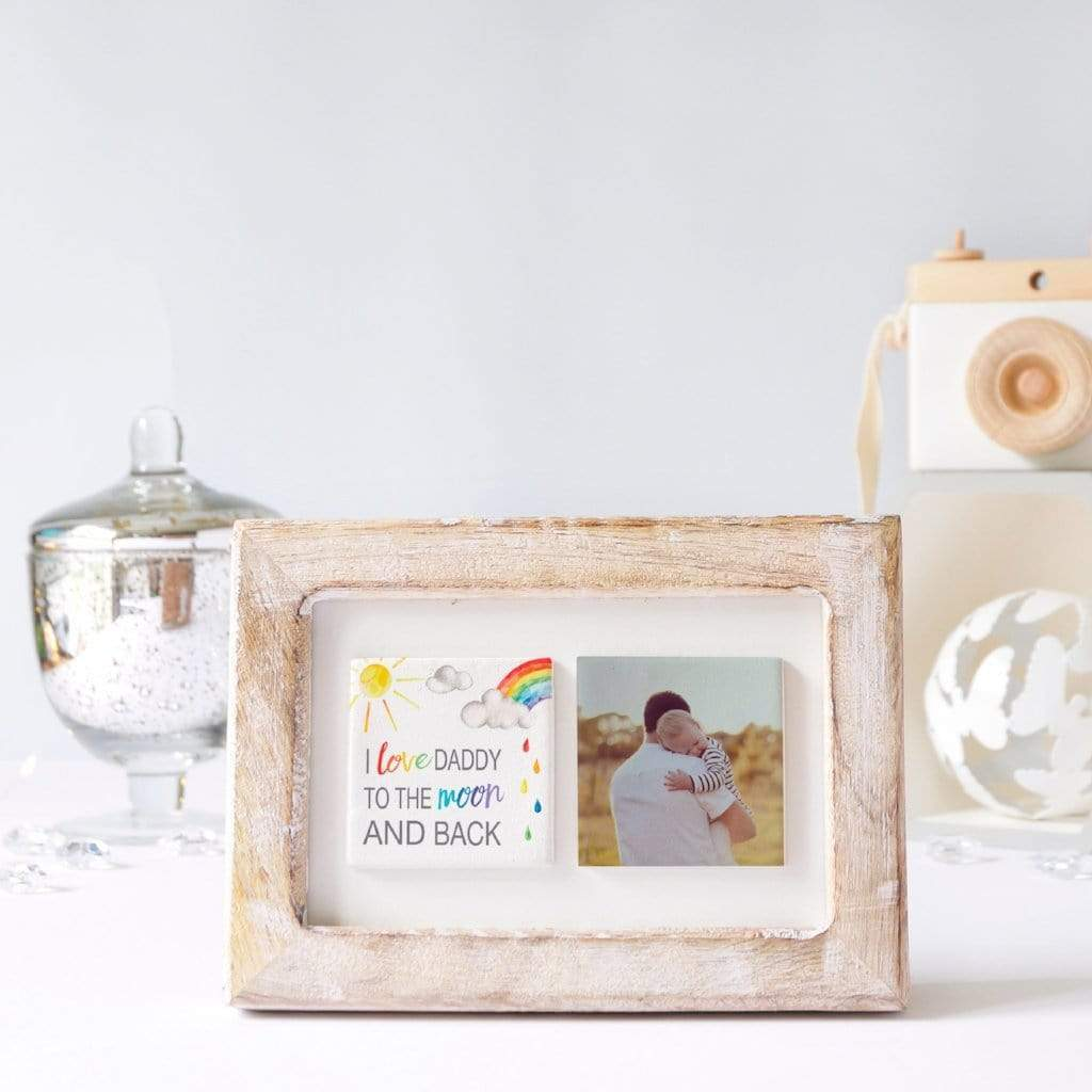 Periwinkle and Clay Photo + Message Tiles To the Moon and Back Rainbow Clay Tiled Photo Frame